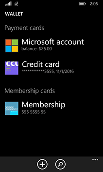 Microsoft Wallet picture or screenshot