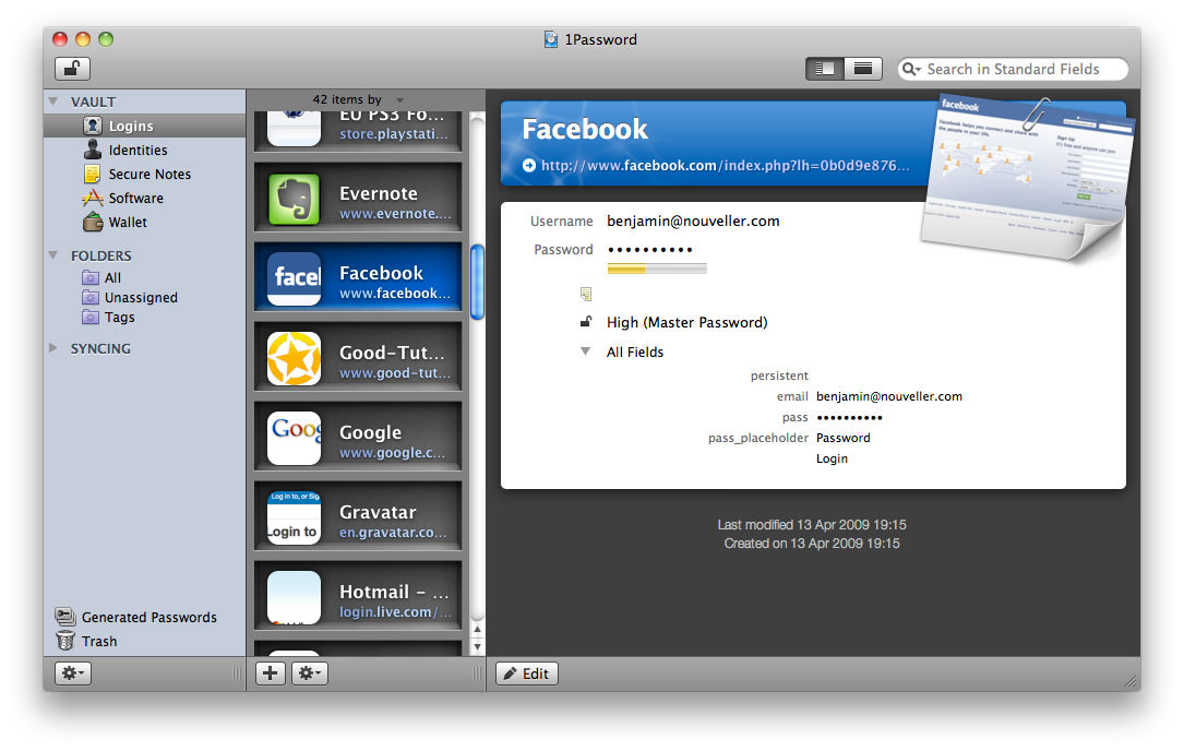 1Password for Mac picture