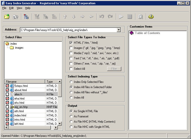 Easy Index Generator picture or screenshot