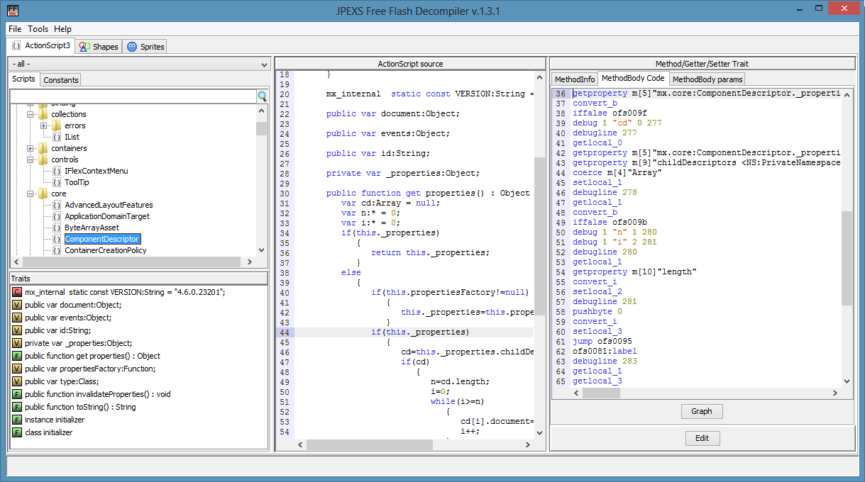 JPEXS Free Flash Decompiler picture