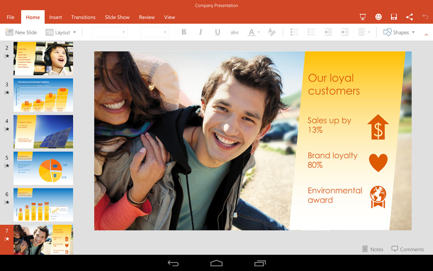 Microsoft Powerpoint for Android picture