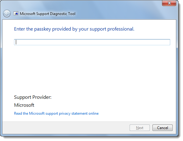 Microsoft Support Diagnostic Tool picture or screenshot