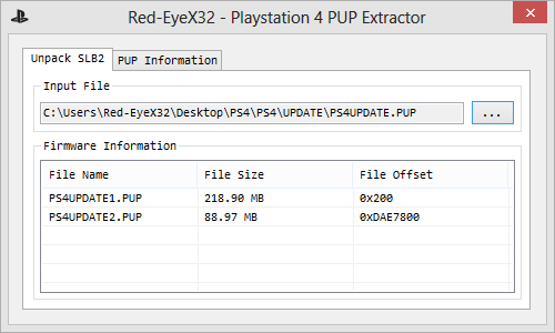 Red-EyeX32 - Playstation 4 PUP Extractor picture
