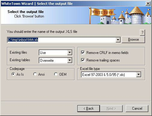 DBF to XLS (Excel) Converter file extensions