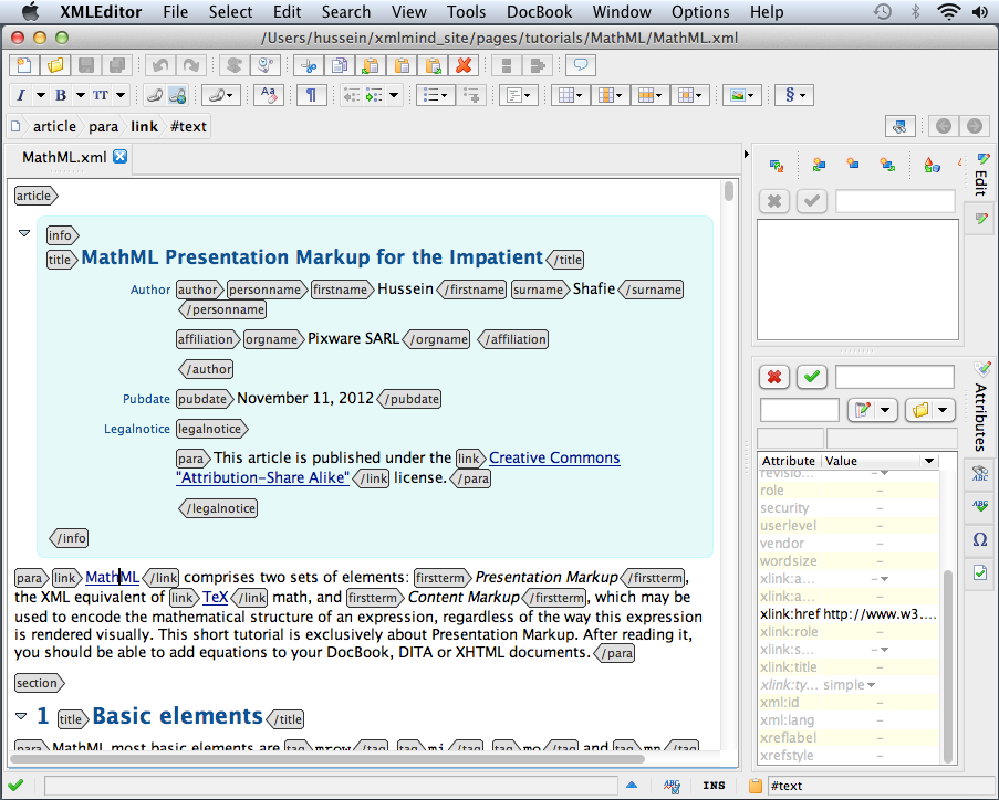 XMLmind XML Editor picture or screenshot