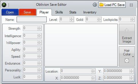 Oblivion Stats Editor picture or screenshot