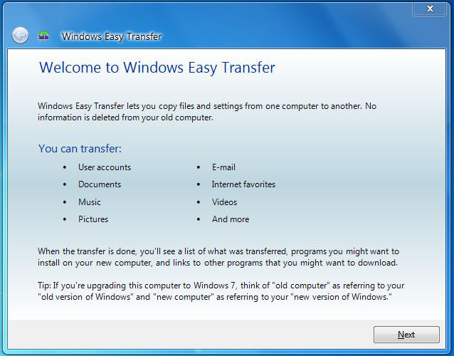 Windows Easy Transfer picture