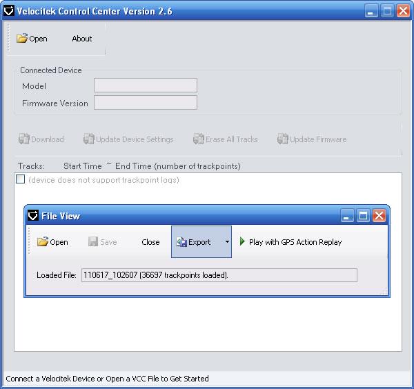 Velocitek Control Center picture or screenshot