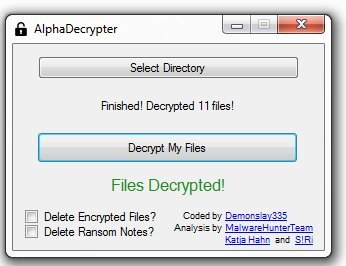 Alpha Ransomware Decryptor picture