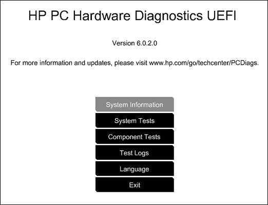 HP PC Hardware Diagnostics picture
