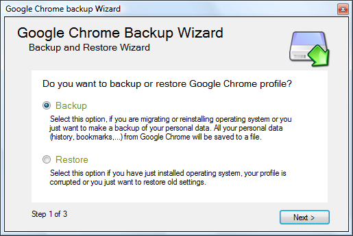 Google Chrome Backup picture or screenshot