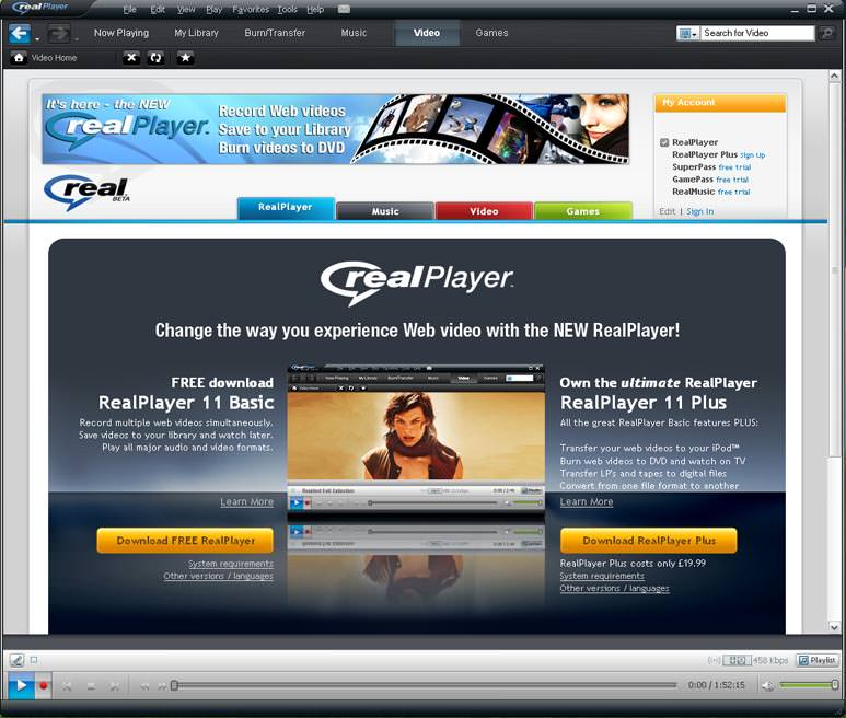 RealPlayer picture