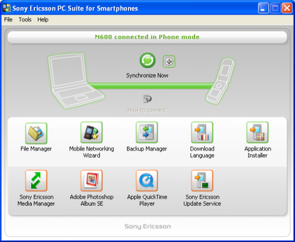 Sony Ericsson PC Suite picture