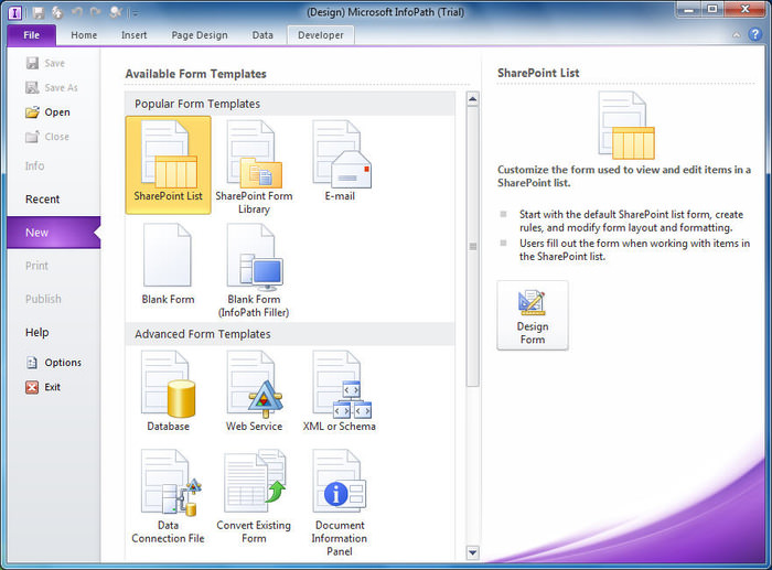 Microsoft infopath free download.
