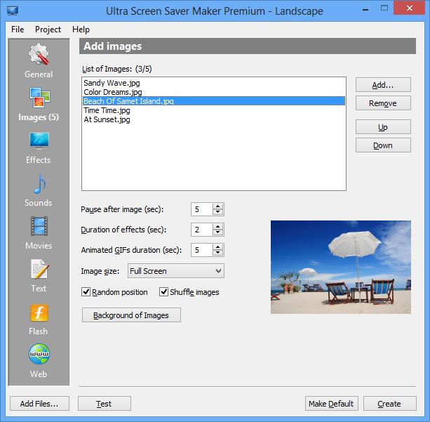 Ultra Screen Saver Maker picture or screenshot
