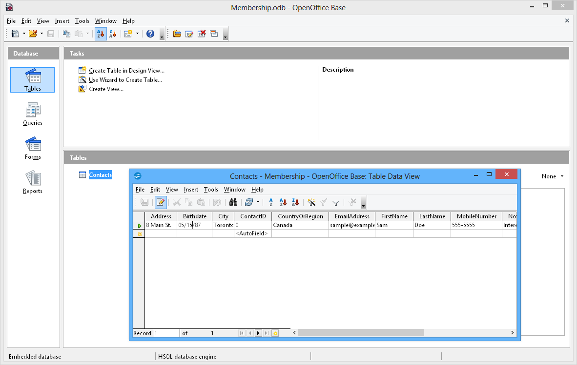 Apache OpenOffice Base (OpenOffice.org Base) picture