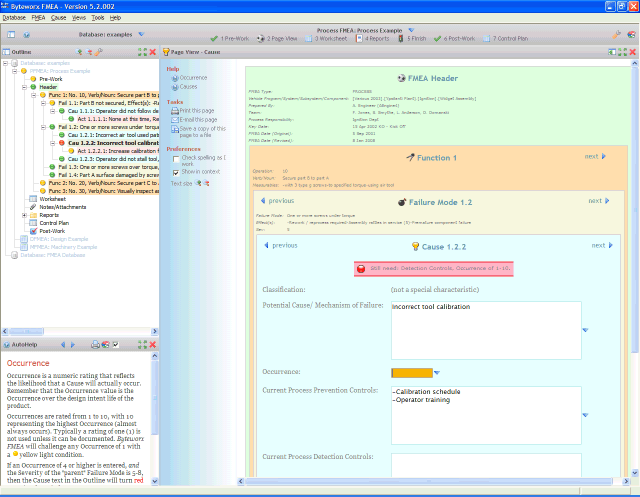 Byteworx FMEAplus picture or screenshot