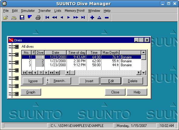 Suunto Dive Manager picture or screenshot