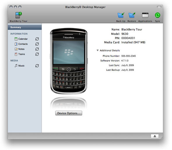 BlackBerry Desktop Software for Mac picture