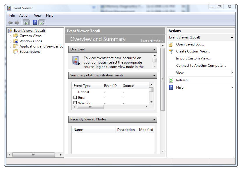 Microsoft Event Viewer picture