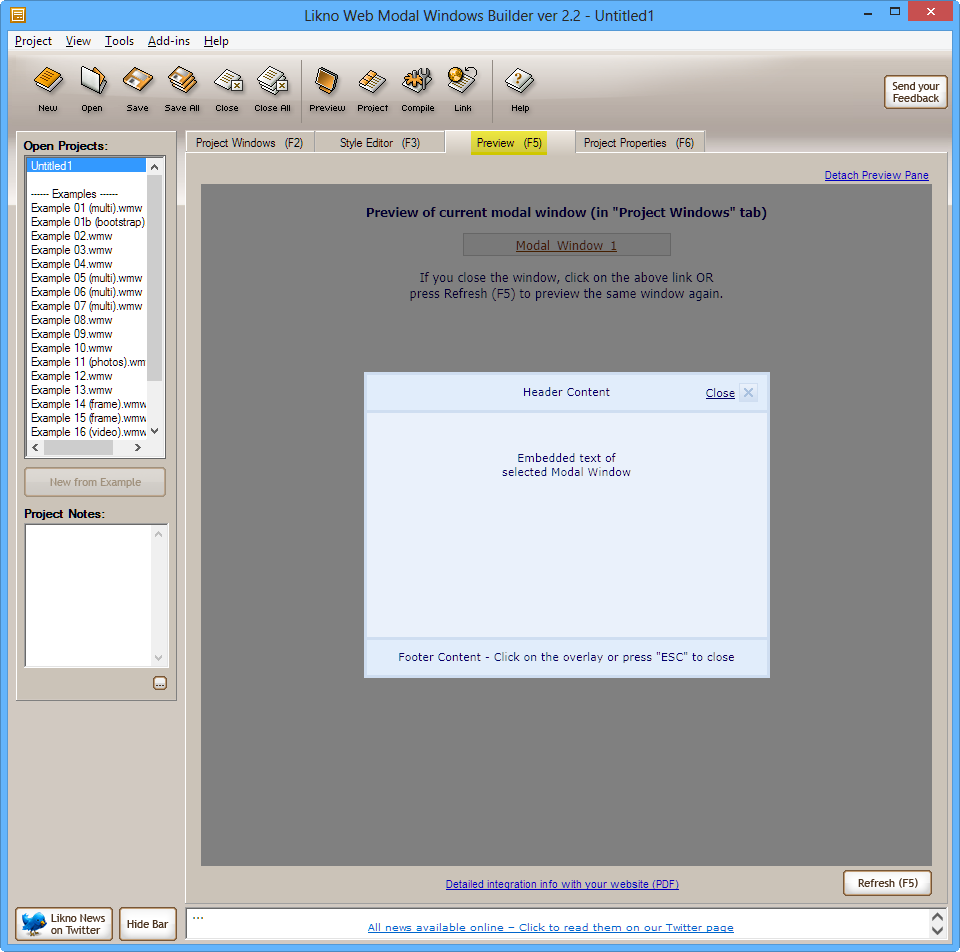 Likno Web Modal Windows Builder picture or screenshot