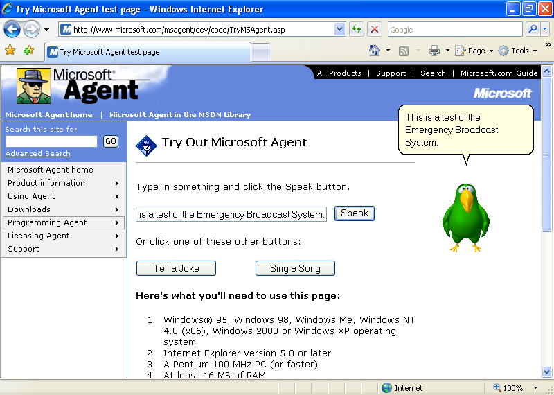 Microsoft Agent picture or screenshot