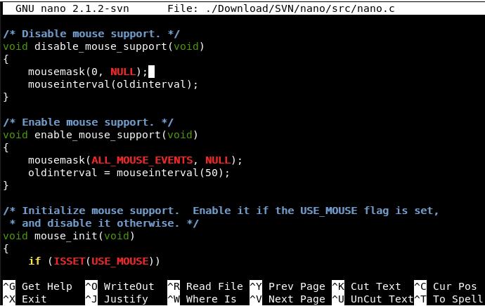 GNU Nano picture or screenshot