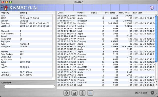 KisMAC picture or screenshot