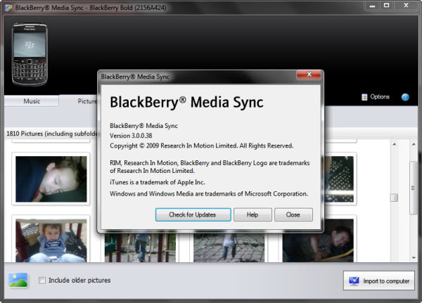 BlackBerry Media Sync picture
