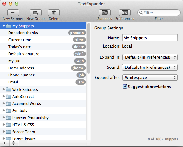 TextExpander picture or screenshot