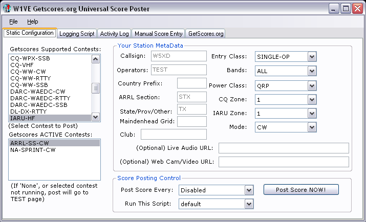 Universal Score Posting Application picture or screenshot