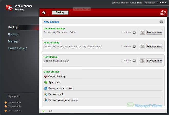 Comodo Backup picture or screenshot