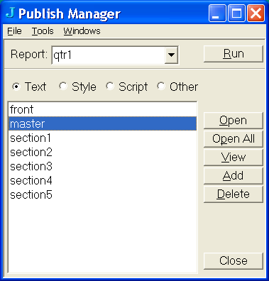 Publish Manager picture or screenshot