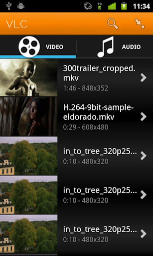 VLC media player for Android file extensions