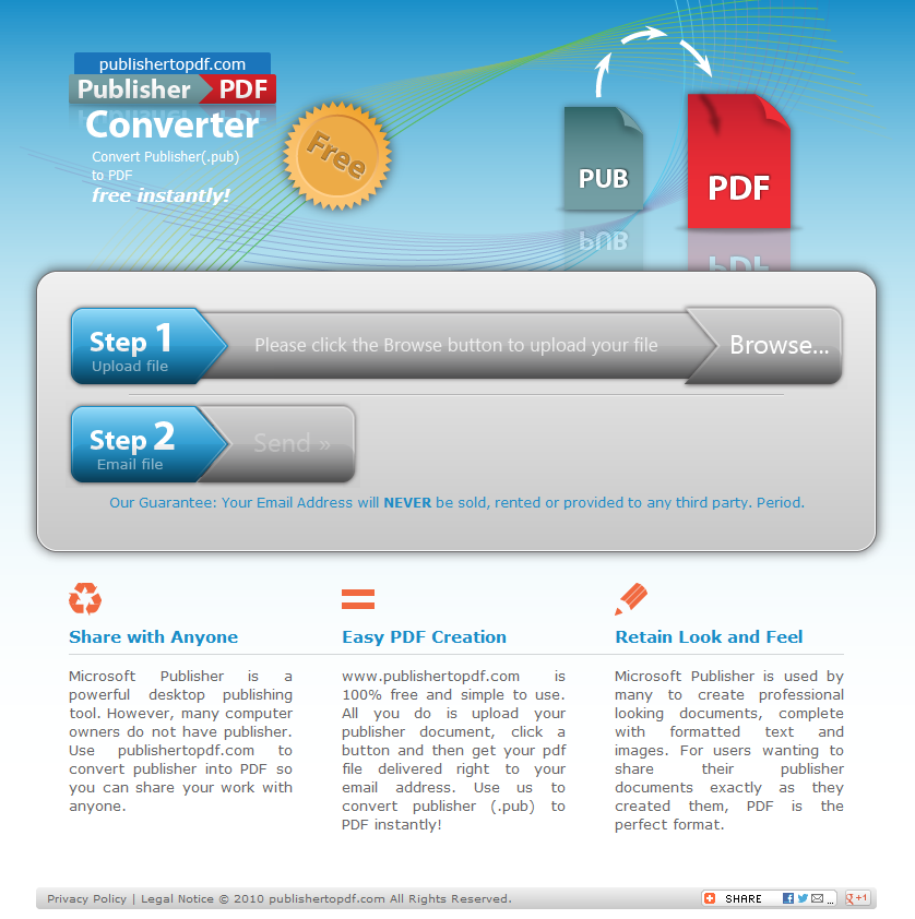 Save your publication in PDF or XPS format