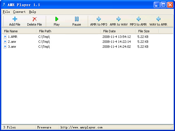AMR Player file extensions