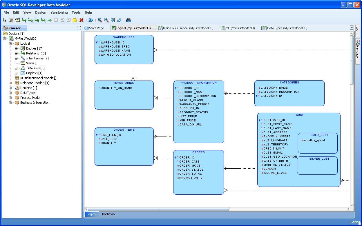 SQL Developer Data Modeler picture or screenshot