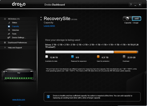 Drobo Dashboard picture or screenshot