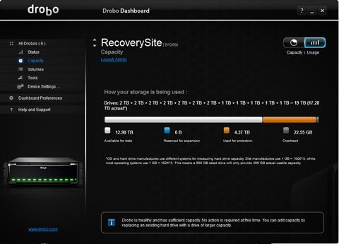 Drobo Dashboard picture or screenshot