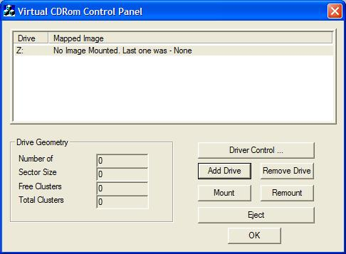Virtual CD-ROM Control Panel picture