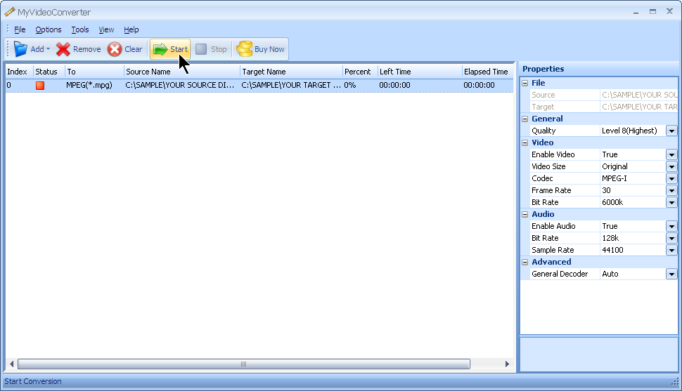 Press start to convert your AVI file to MPG file format with MyVideoConverter.