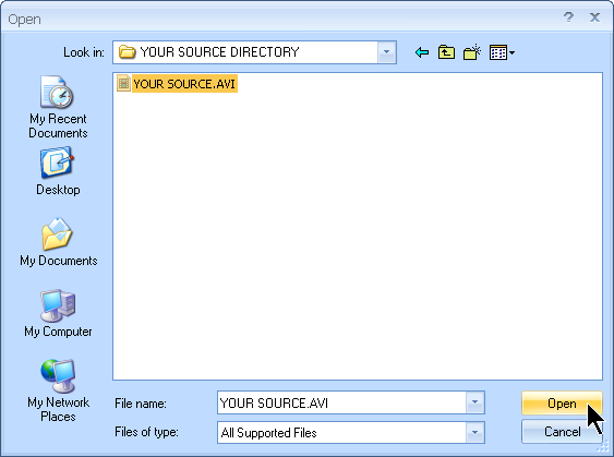 Select the AVI source file you wish to convert to MOV file with MyVideoConverter.
