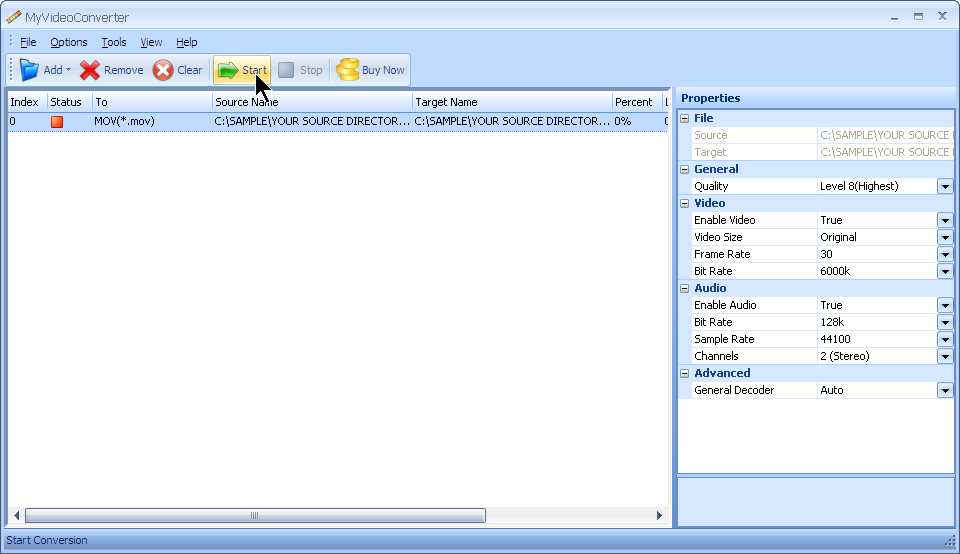 Press start to convert your AVI file to MOV file format with MyVideoConverter.