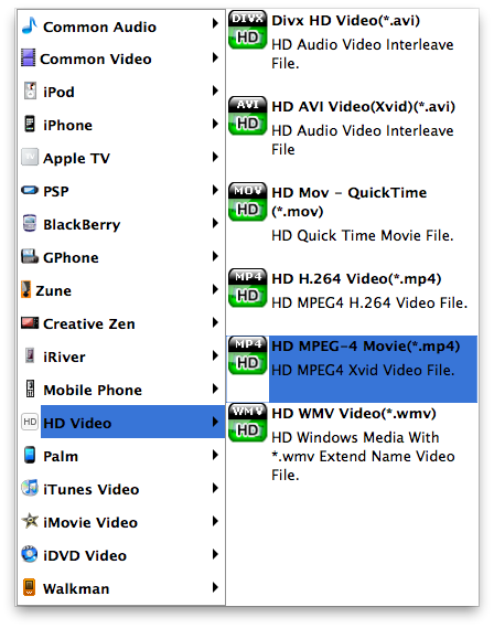 avchd converter for mac profile selection