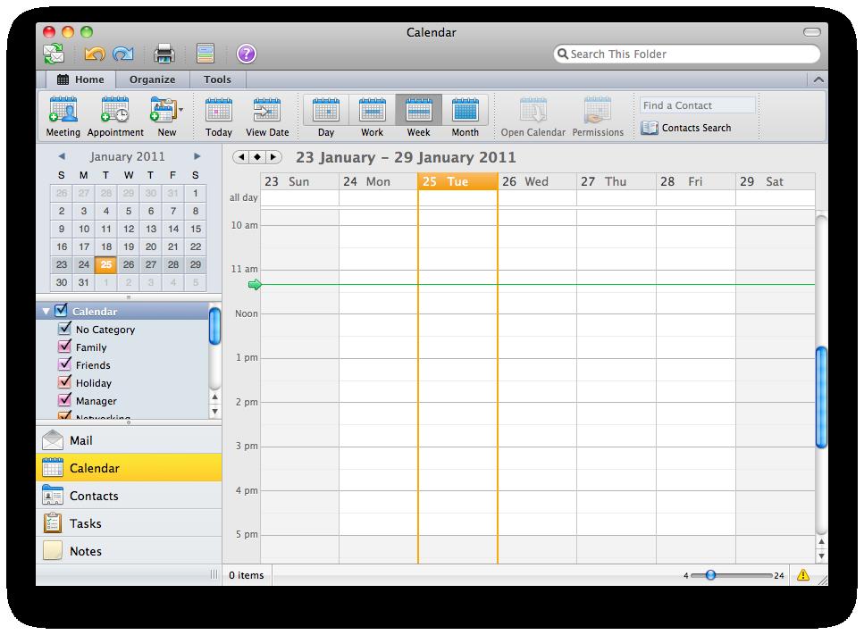 Microsoft Outlook 2011 for Mac calendar screenshot