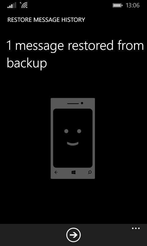 Chat backup succesffuly restored in Windows Phone