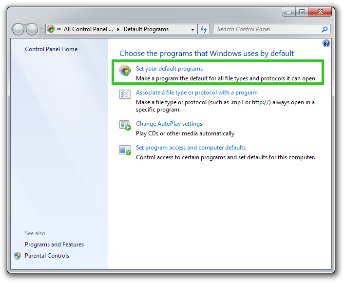 Default Programs control panel screenshot