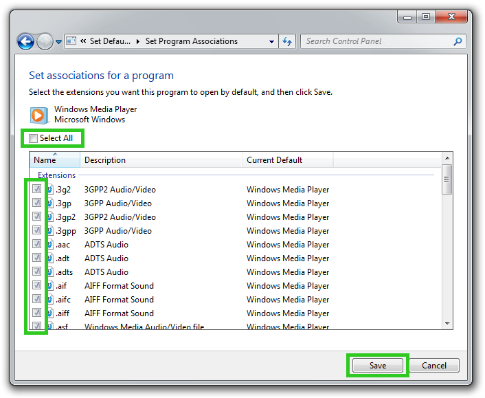 Set Program Associations screenshot