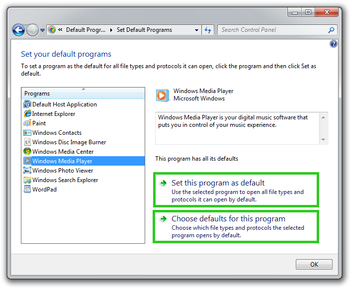 Set Default Programs panel screenshot