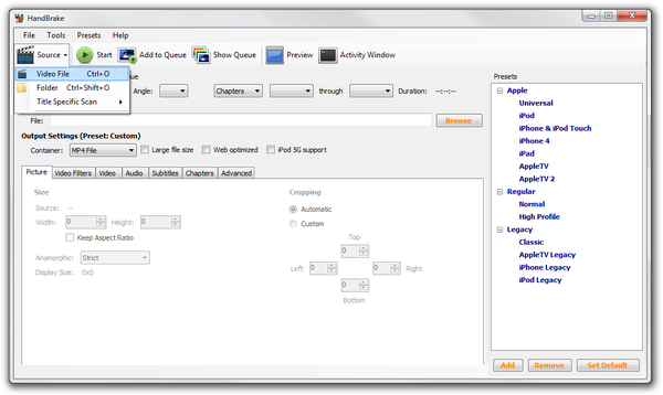HandBrake open source file window